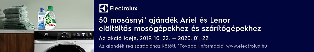Electrolux elöltöltős mosógép + ariel, lenor 10.22-01.22